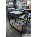 """HEAVY DUTY STEEL WELDED TABLES CONSISTING OF; (1) 24"""" X 36"""" X 35"""" HIGH AND (1) 20"""" X 36"""" X 35"""" HIGH"""