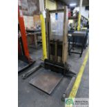 1,500 LB. CAPACITY CROWN MODEL 15BS 12 VOLT ELECTRIC WALK-BEHIND PALLET STACKER; S/N 26976, WITH