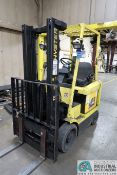 5,000 LB. CAPACITY HYSTER MODEL E50XM2-27, 36 VOLT ELECTRIC TWO-STAGE MAST, CUSHION TIRE LIFT TRUCK;