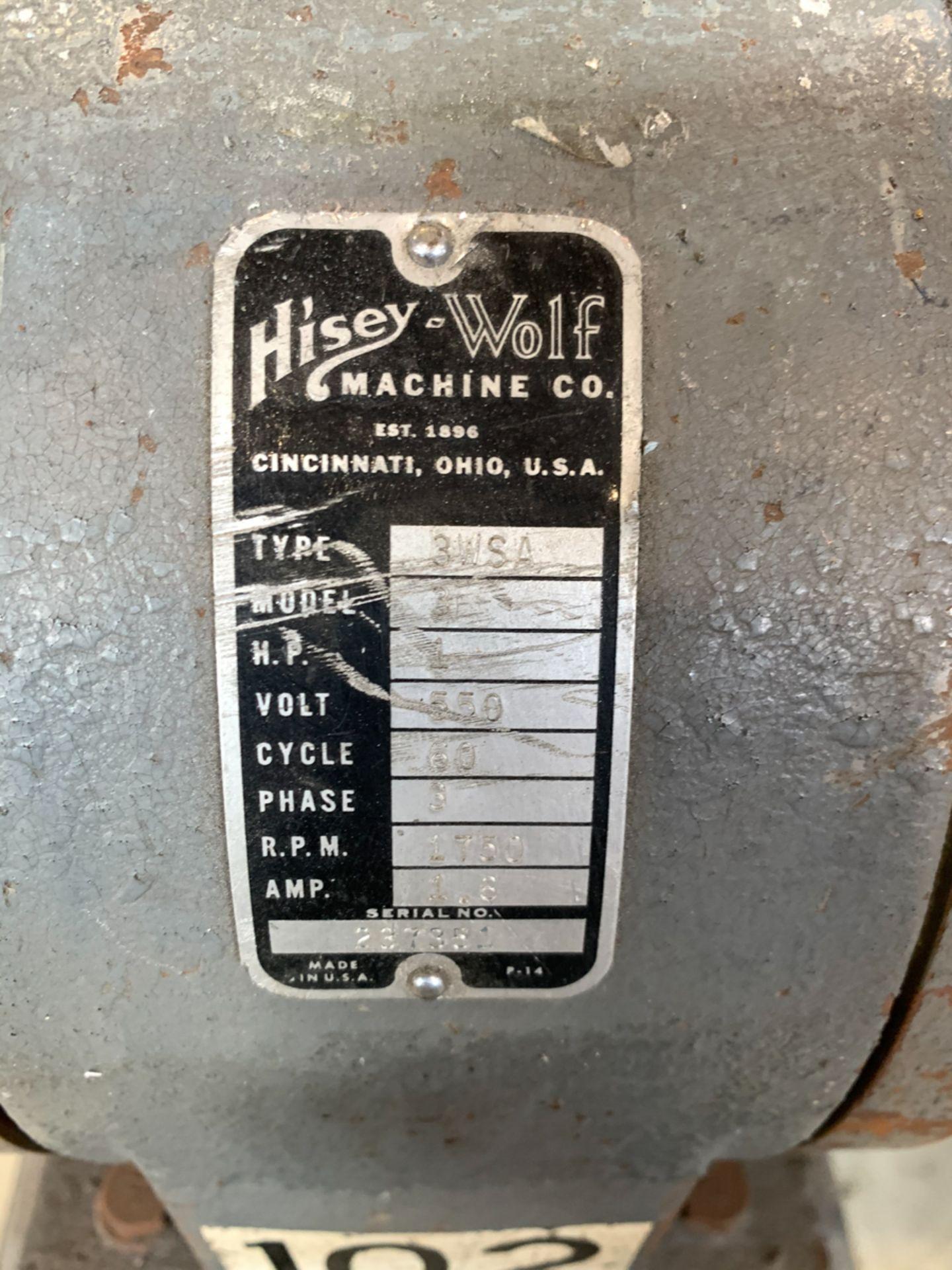 "HISEY-WOLF PEDESTAL GRINDER MOD. 3, 8"" WHEELS, 1 HP, 550 VOLTS - Image 2 of 2"