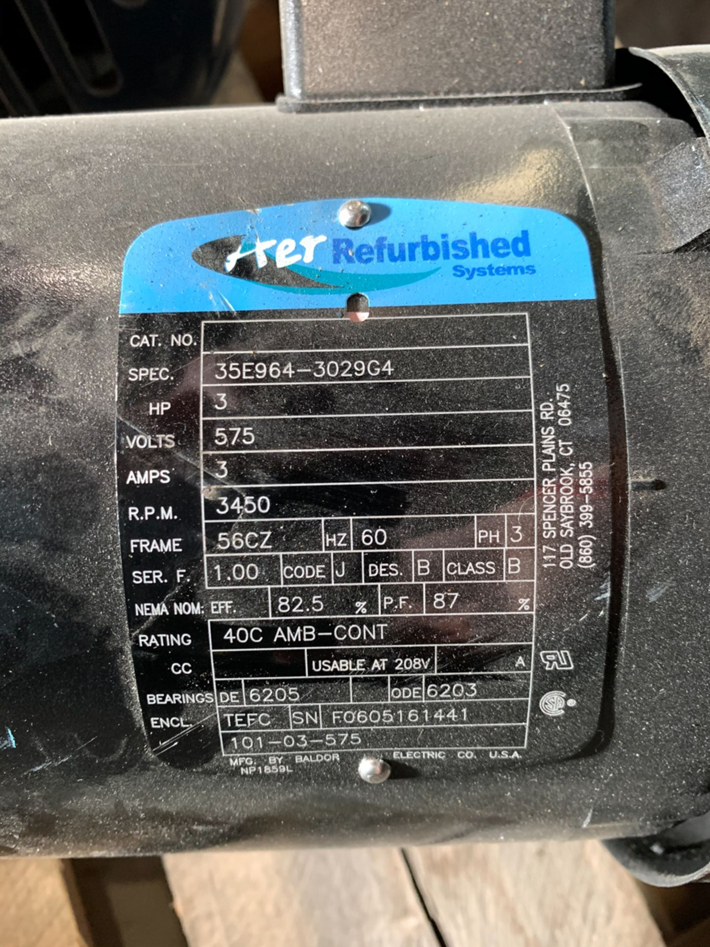 AER 3 HP MOTOR, 575 VOLTS - Image 2 of 2