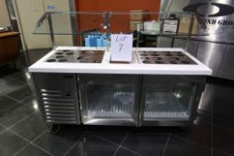 *NEW* DIAMOND 30''X72'' REFRIGERATED COUNTER WITH TOP CONDIMENT DISPLAY, 2 GLASS DOORS, SNEEZE
