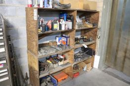 Wood shelving w/contents