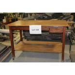Wood drafting table w/ drawers
