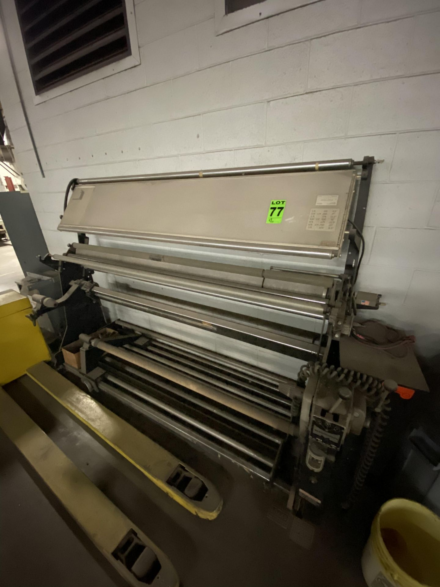 """Measuregraph 60"""" Roll fabric Inspection Station, s/n: 10277. ASSET LOCATED FOR PICKUP IN FALCONER,"""