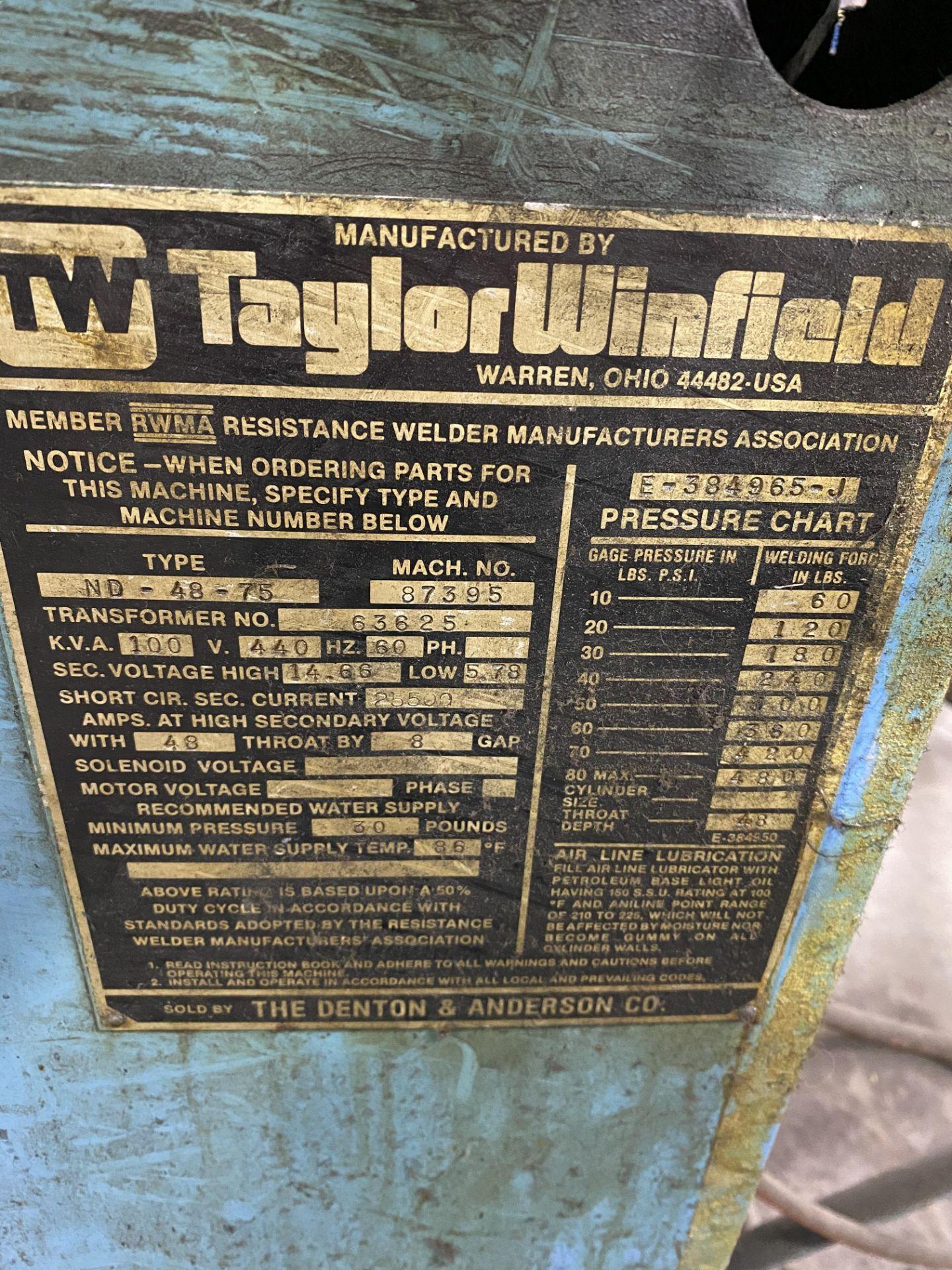 TAYLOR Spot Welder mod.87395 100-kva, s/n: NO-48-75 - Image 7 of 7