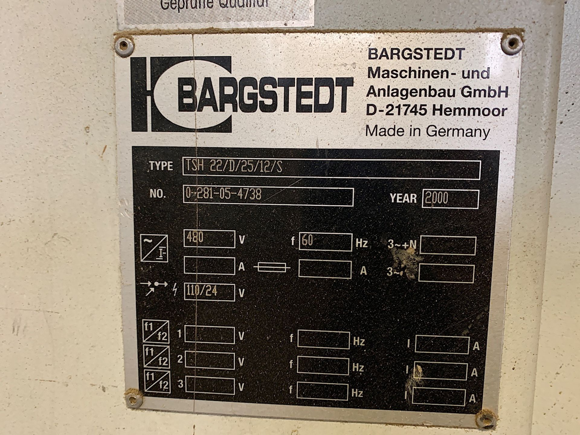 Lot 8e - BARGSTEDT (TSH 22/D/25/12/S) PANEL STACKER (SOLD SUBJECT TO BULK BID PRICE OF LOT 8)