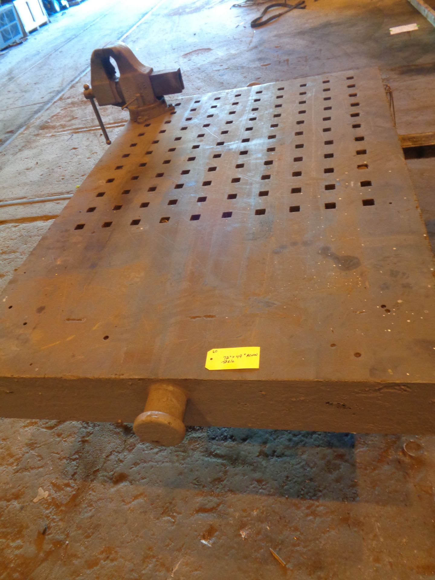 """Lot 10A - 72"""" x 49"""" Acorn Table with Vice (#60)"""