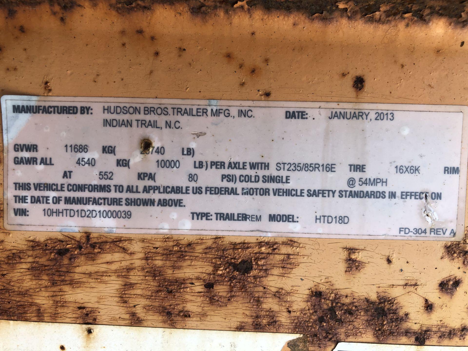 Lot 32 - 2013 Hudson Bros Trailer HTD18D 10 Ton