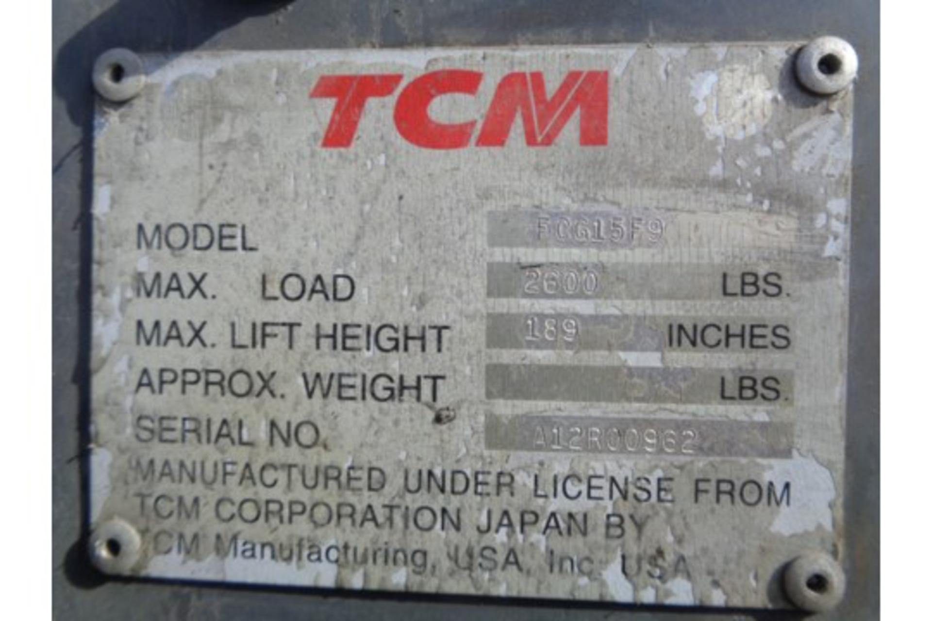 TCM FCG15F9 3,000lb Forklift - Image 16 of 16