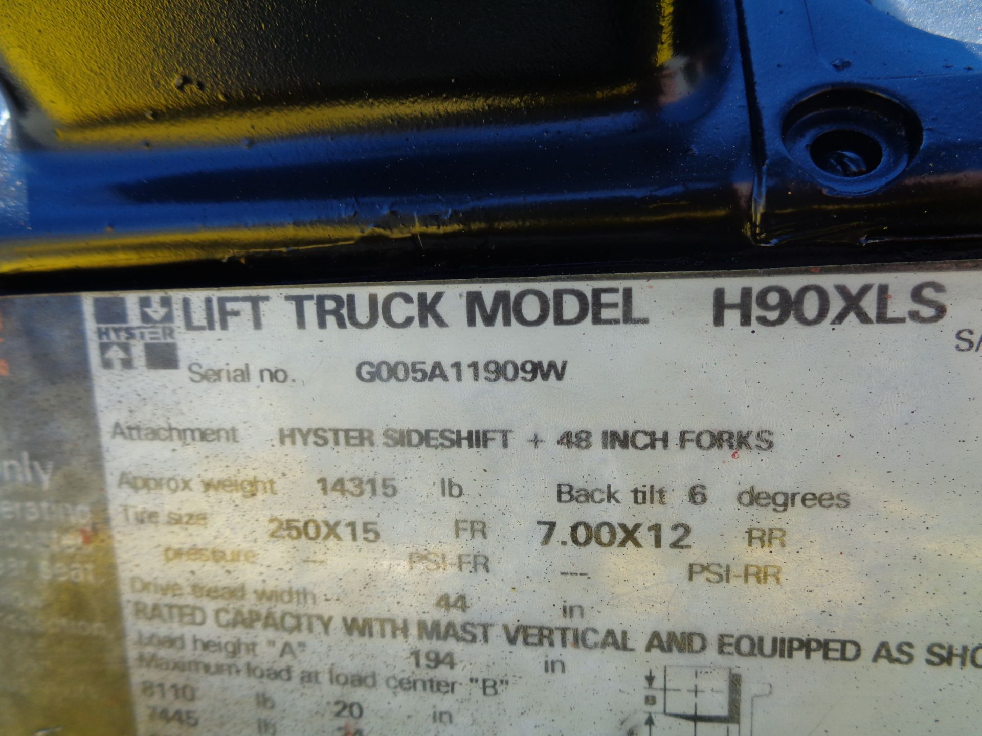 Hyster H90XLS Forklift 9,000 lbs - Image 6 of 13