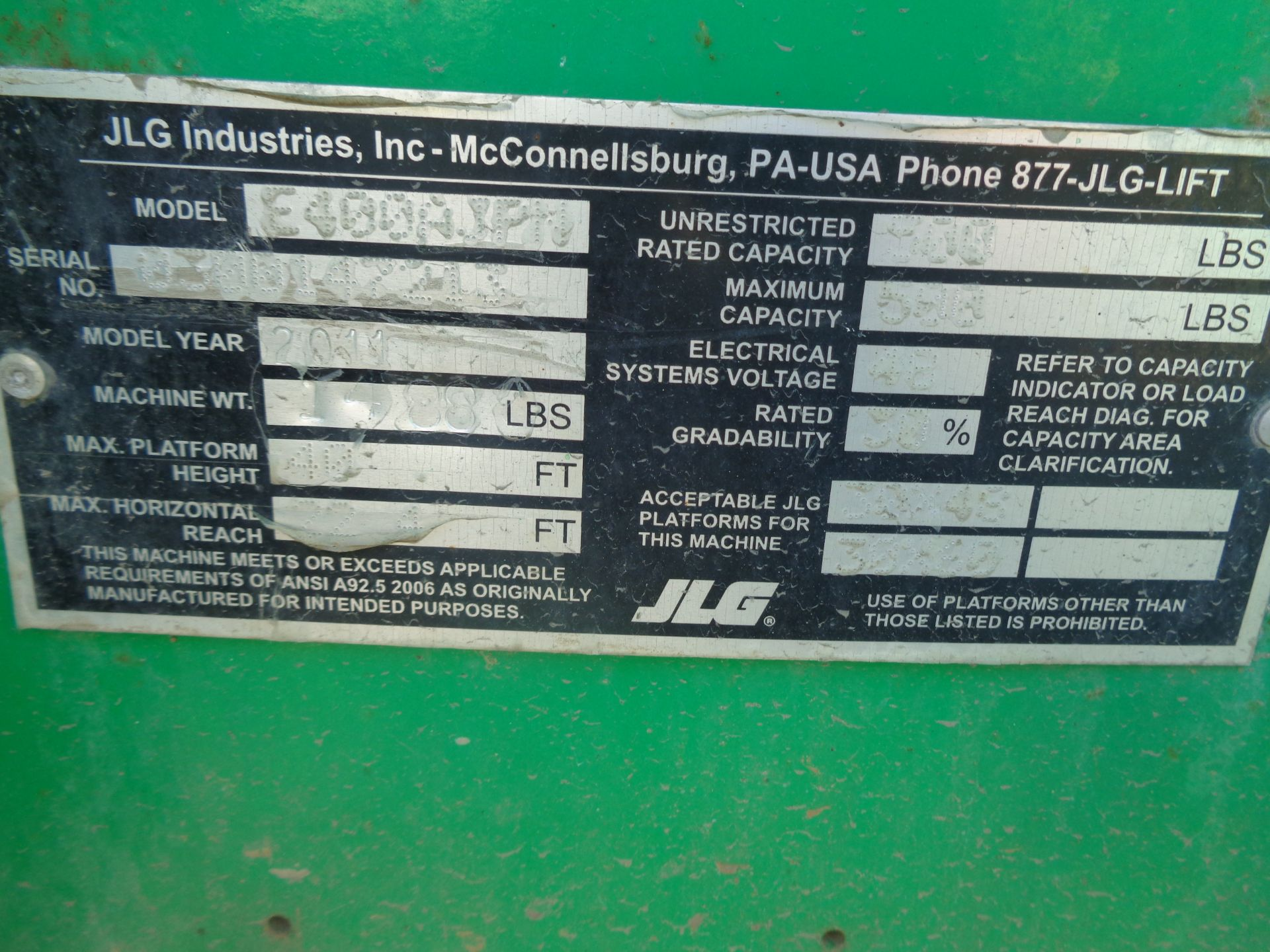 2011 JLG E400AJPN Electric Boom Lift - Image 10 of 10