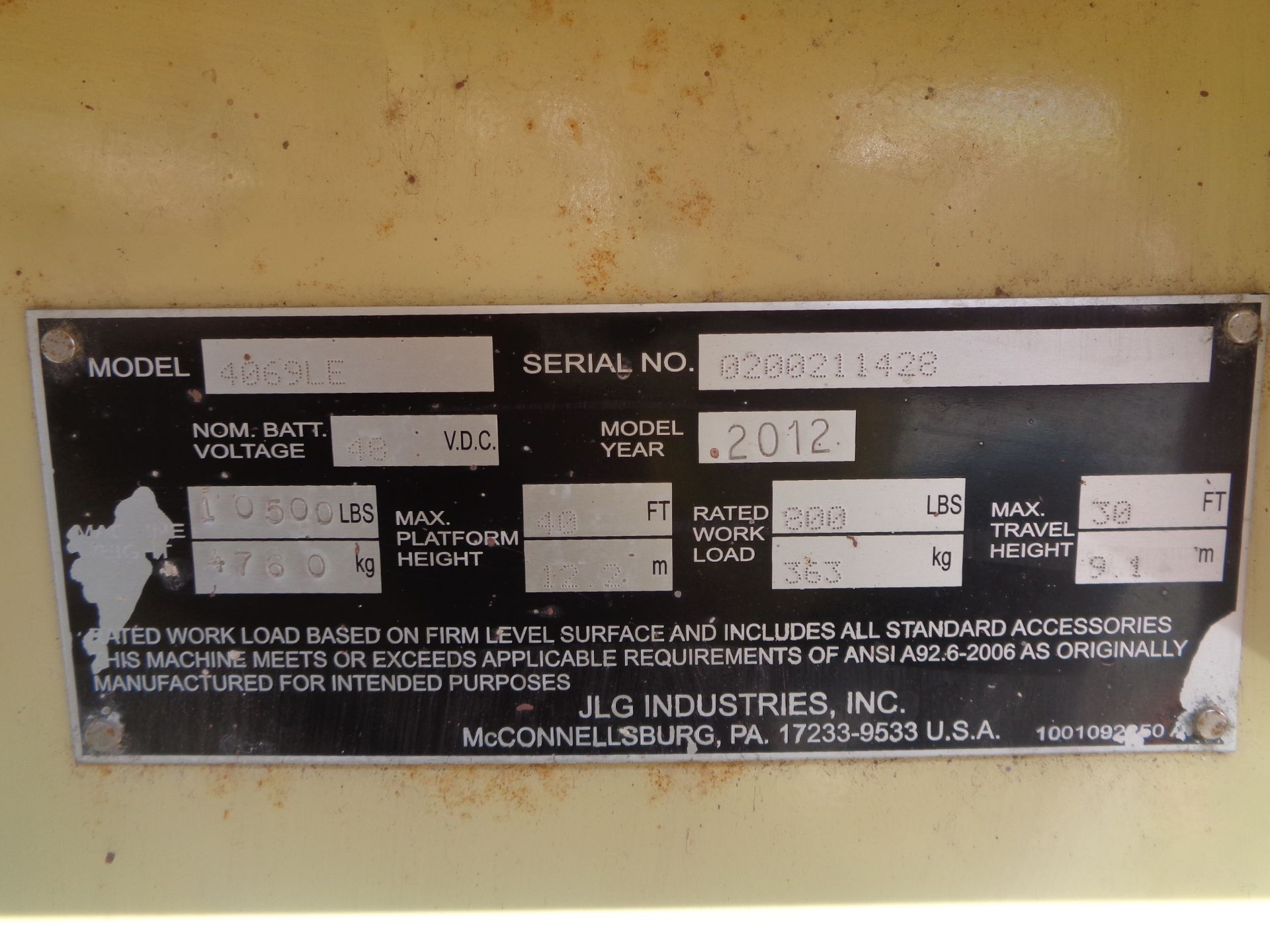 2012 JLG 4069LE 40 ft Electric Scissor Lift - Image 18 of 18