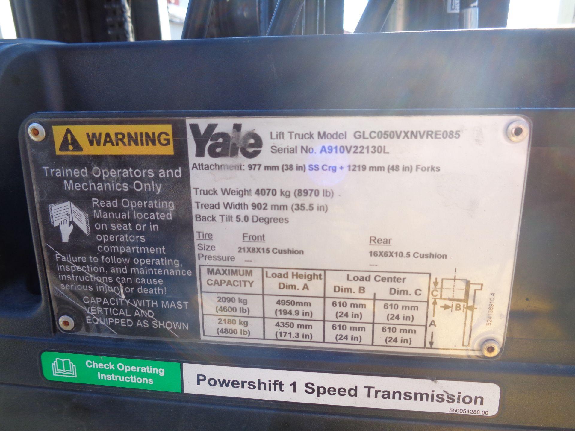 2014 Yale GLC050VXNVRE088 5,000 lb Forklift - Image 8 of 11