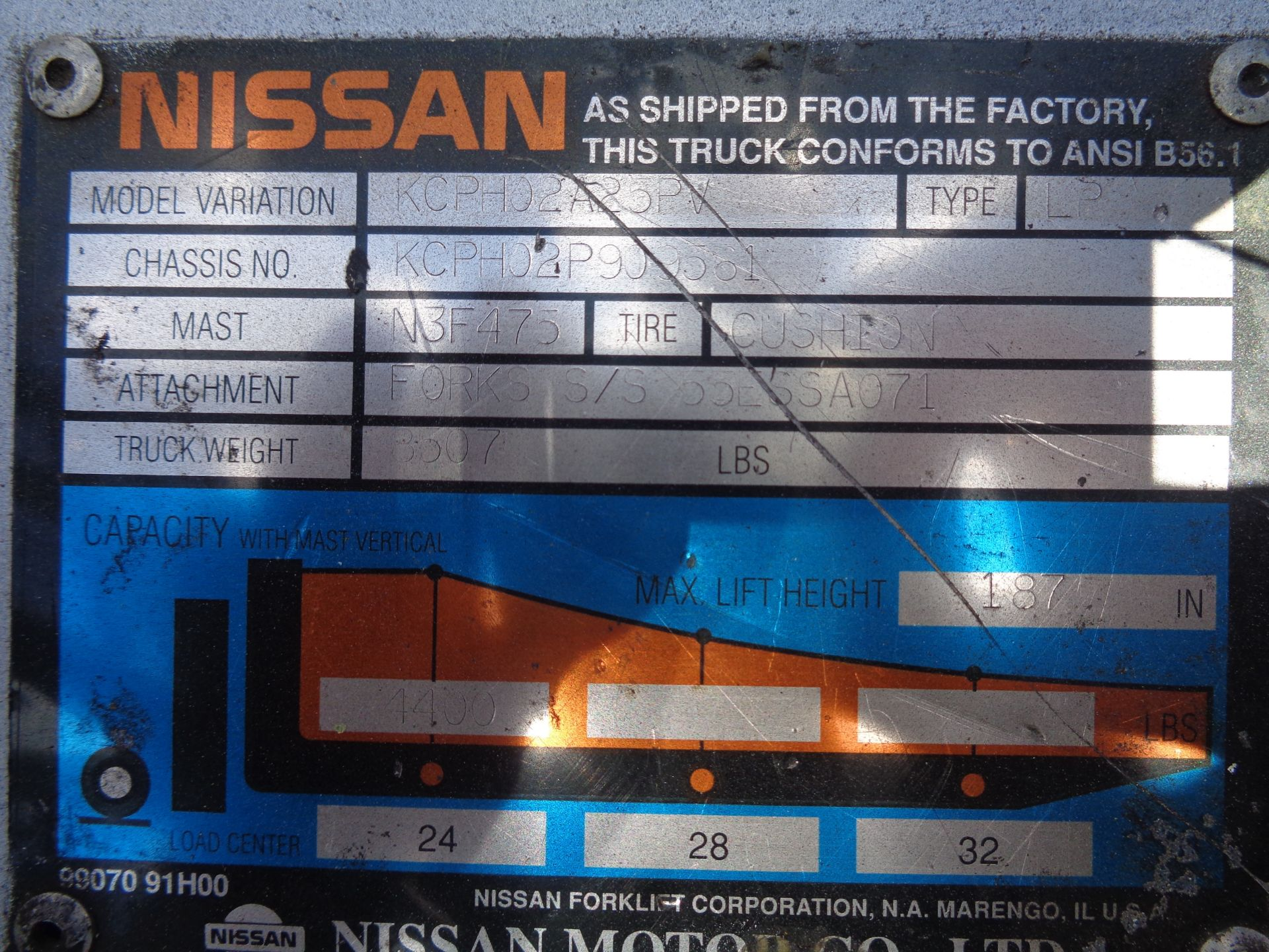 Nissan KCPH02A25PV 4,400 lb Forklift - Image 17 of 17