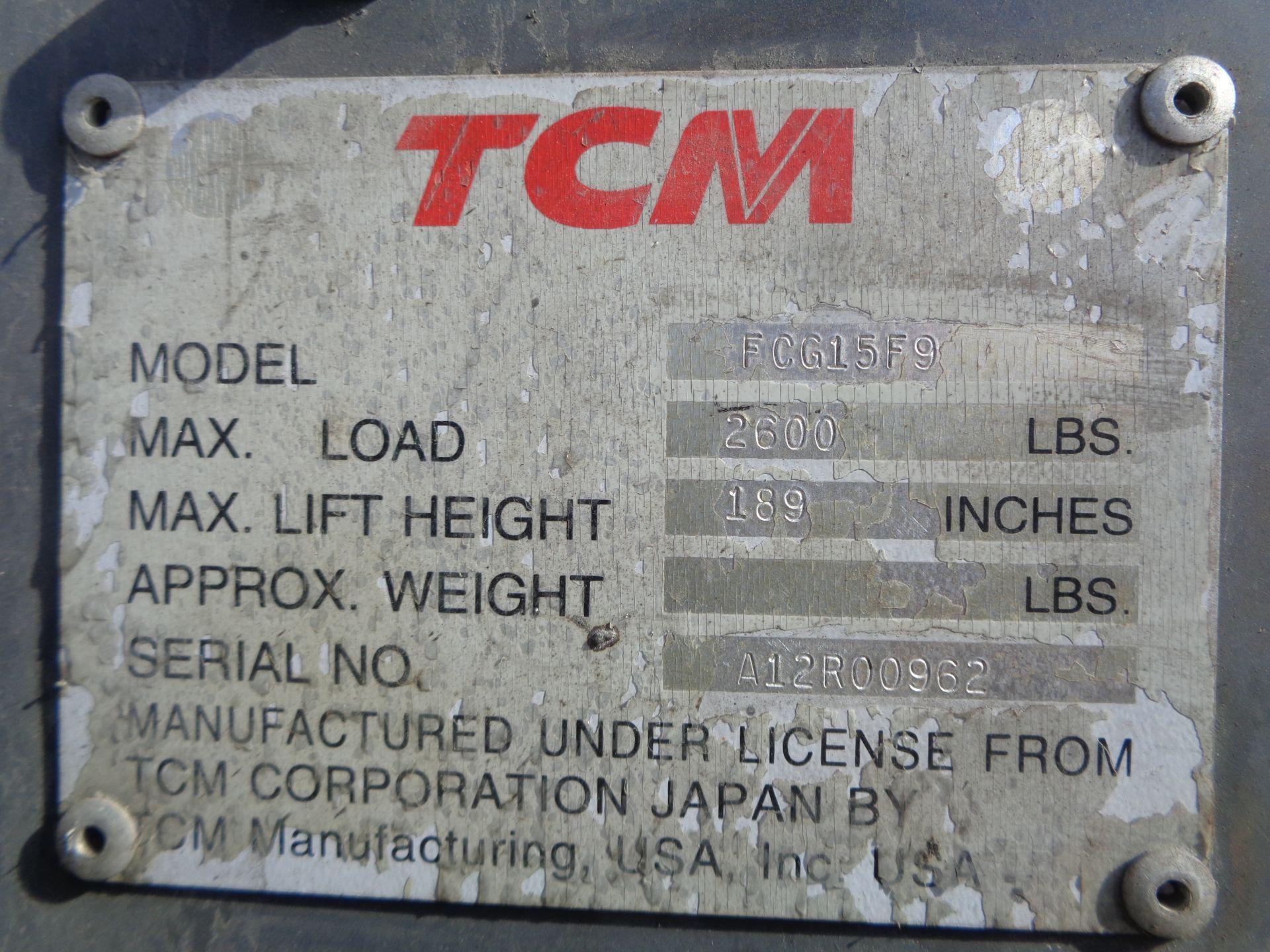 Lot 4 - TCM FCG15F9 3,000lb Forklift