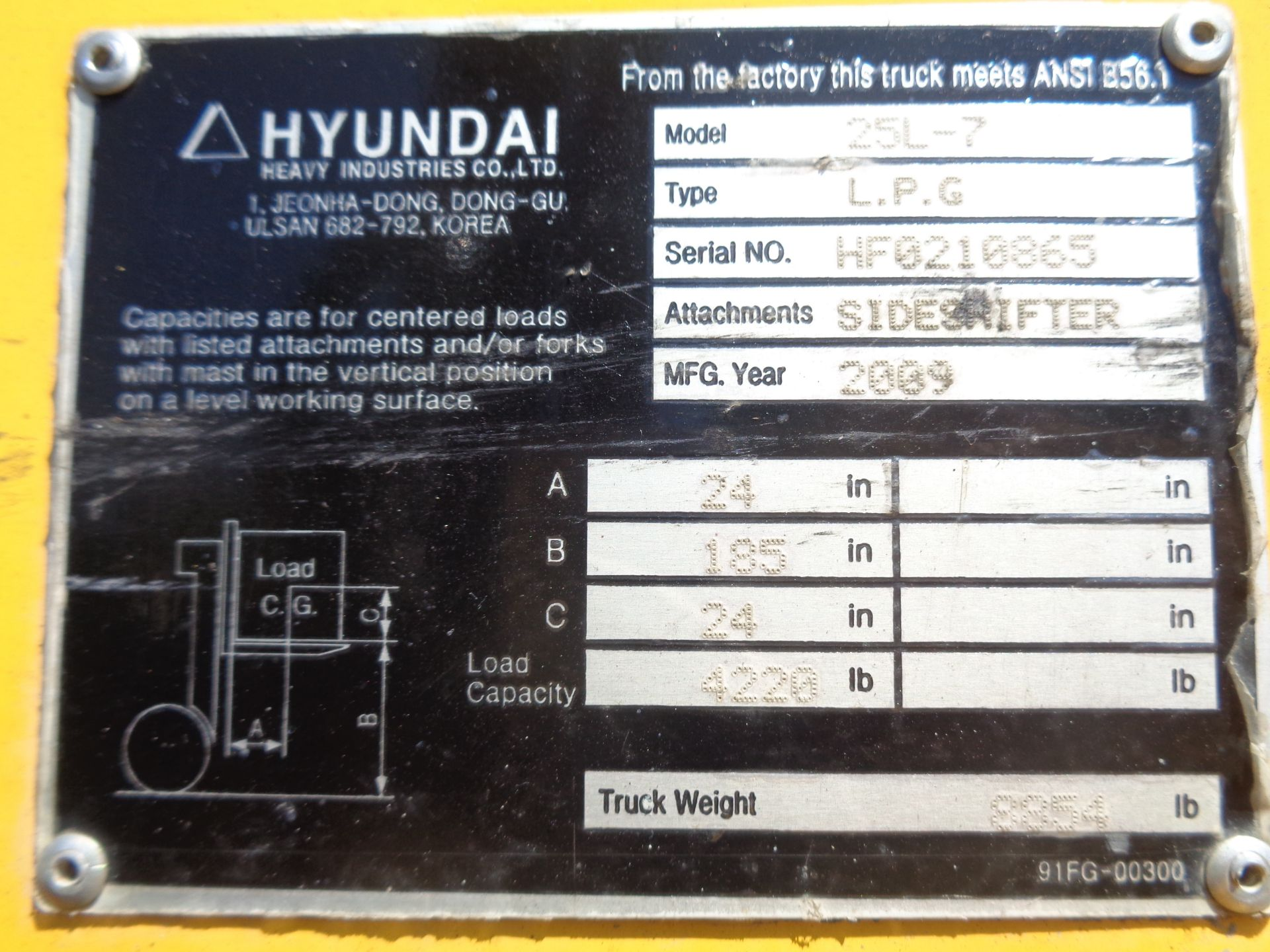 Lot 9 - Hyundai 25L-7 5,000lb Forklift