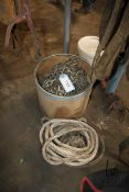 PAIL OF MISC CHAIN & ROPE