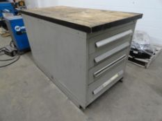 (2) 4-drawer heavy duty ball bearing drawer cabinets bolted together with butcher block top approxim