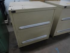 Stanley Vidmar 2-drawer heavy duty ball bearing drawer cabinet, approximate 30 x 28 x 33 inches