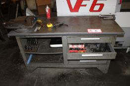 "Cabinet & Contents: 60"" x 24"" Cabinet w/ Mounted 6"" Jaw Vise w/ Various Hold Downs, Nuts, Bolts,"