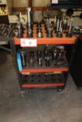 Tooling Cart & Contents: 36 CAT40 Tool Holders w/ Various Tooling & Mill Cutters, Boring Bar, Etc.
