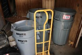 (6) Trash Cans and (2) Wheel Dolly