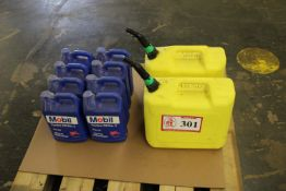 (8) One Gallon Mobile Lathe Oil ISOVG-68 & (2) Diesel Containers