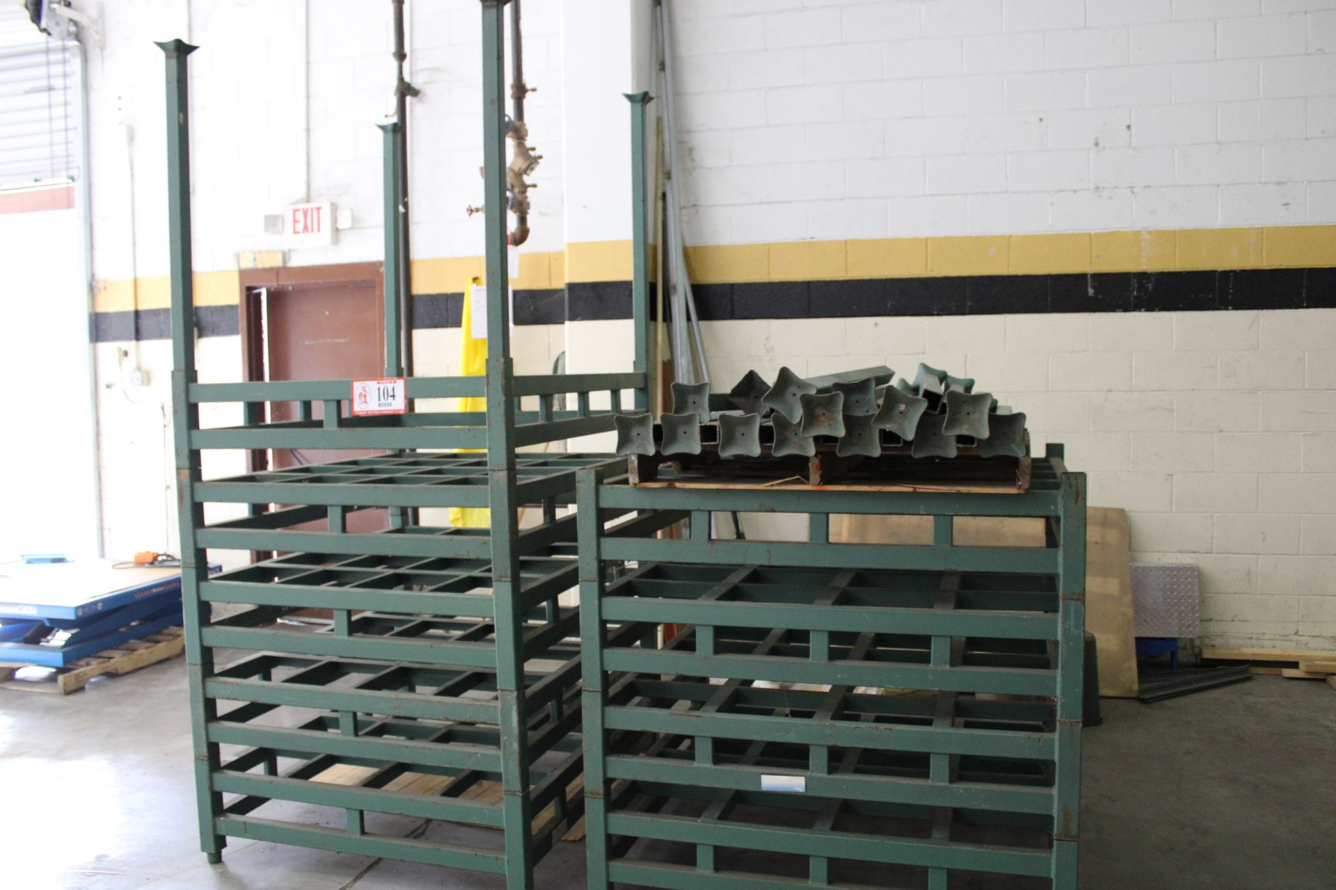"""QTY 11 -Derick-China Steel Stacking Racking, 5ft - 52"""" x 45"""" w/ Stacking Posts, Designed to hold two"""