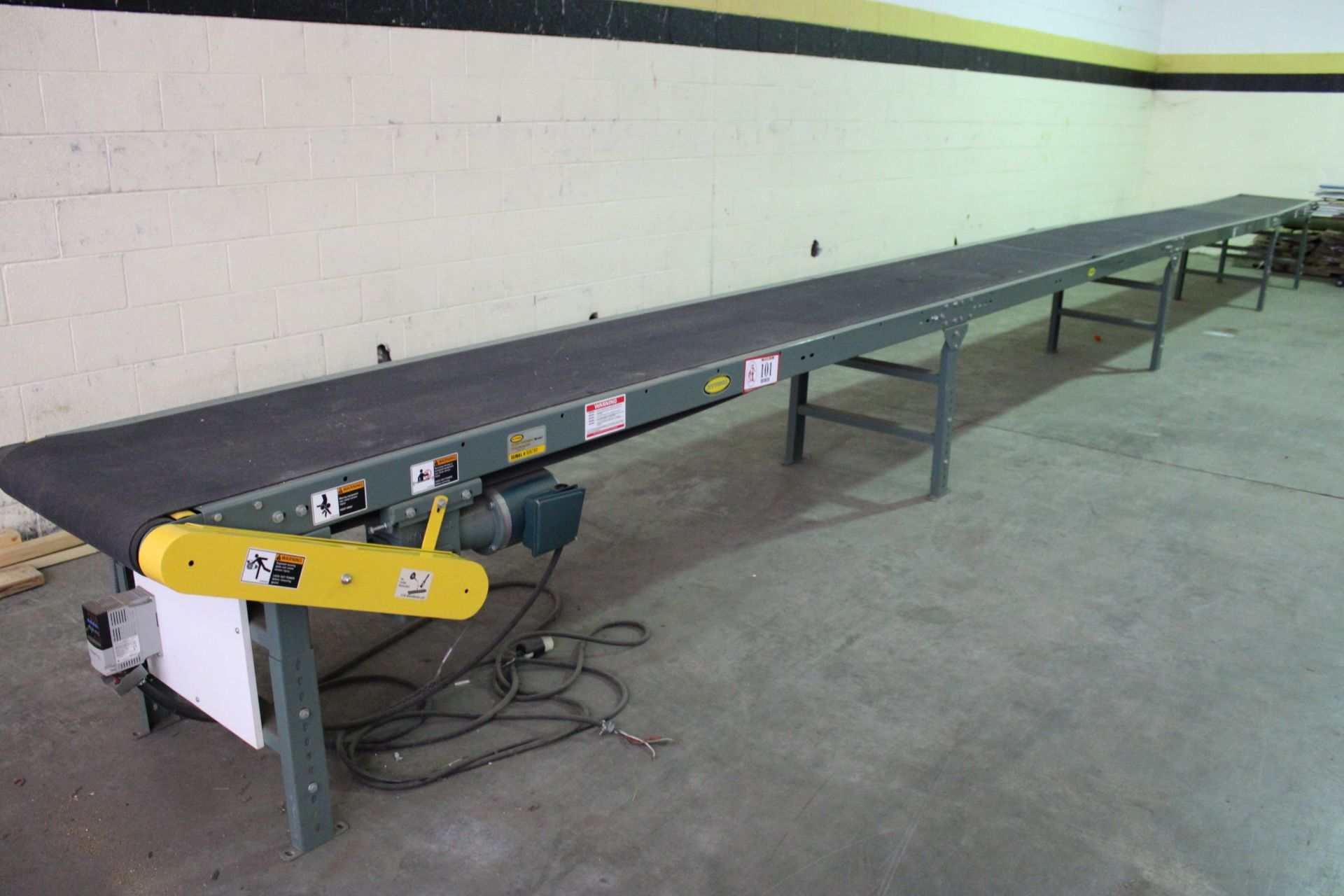 Hytrol Model TA 37ft Power Conveyor, 230 v 3 Phase, New, Used less than 100 hours, Variable speed to