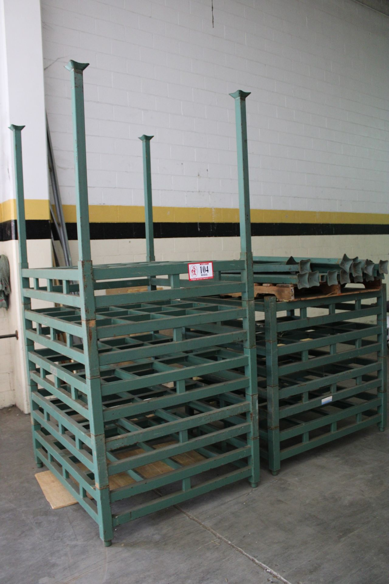 """QTY 11 -Derick-China Steel Stacking Racking, 5ft - 52"""" x 45"""" w/ Stacking Posts, Designed to hold two - Image 2 of 3"""