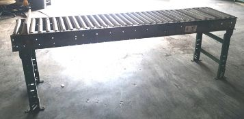 Hytrol Gravity Conveyor w/ 12ft Roller, Used, Adjustable legs and pressure tensioners., Includes 4