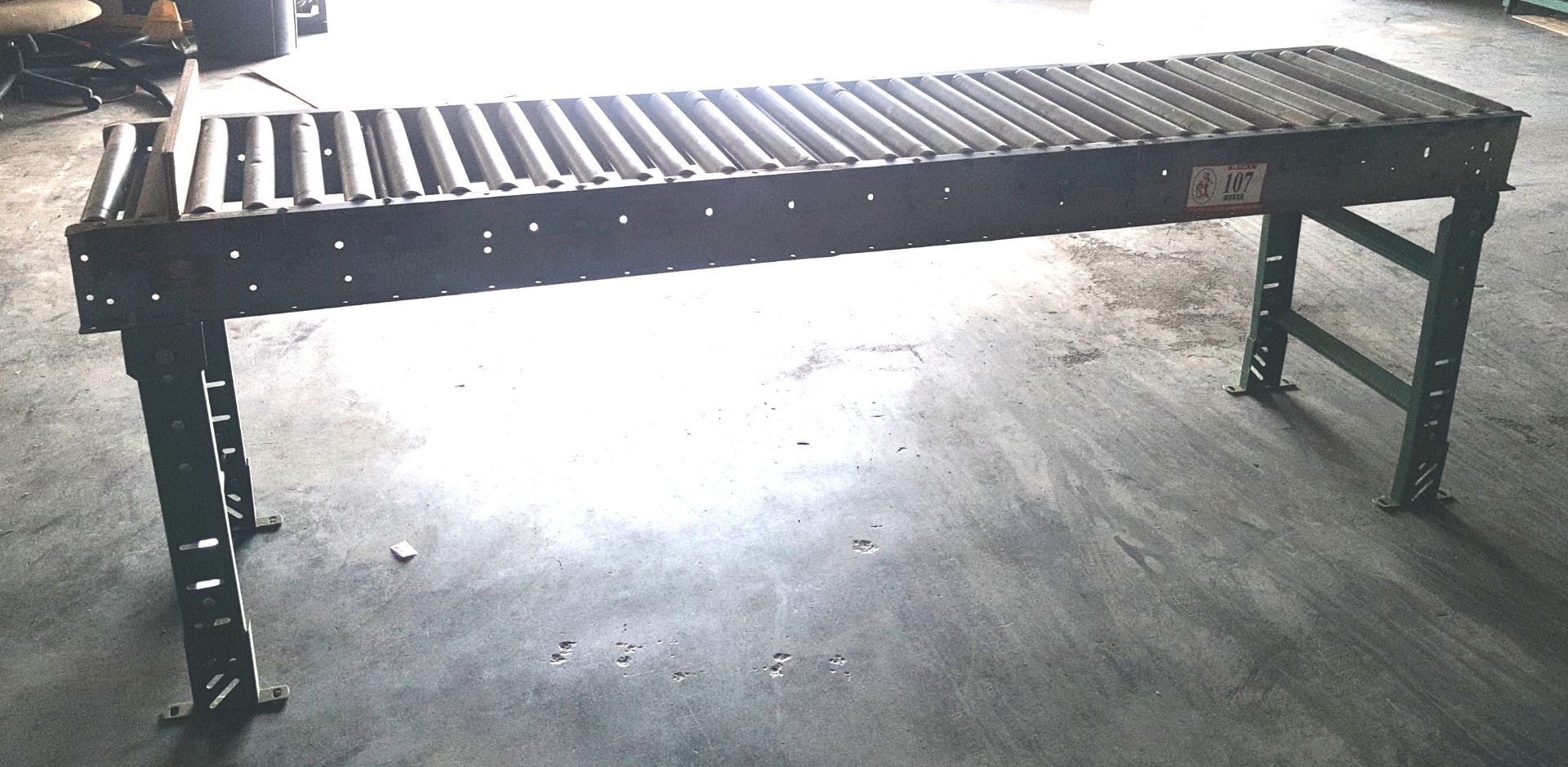 Hytrol Gravity Conveyor w/ 12ft Roller, Used, Adjustable legs and pressure tensioners., Includes 4