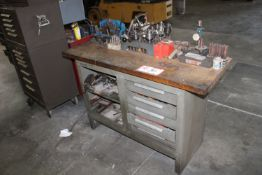 Metal Table w/ 5 Drawers & Contents: Various Tapered Chucks, Center Punches, Hold Downs, Dial