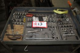 Cart & Contents: Misc. Sockets, Ratchets, Wrenches, Plyers, Hammers, Etc.