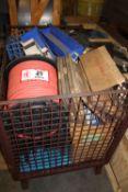 Basket & Contents: Rubber Hose, Saw Blades, Packaging Labels, Etc.
