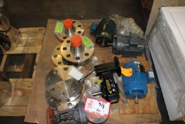 """Contents of Pallet: (3) Stainless Steel Pipe Caps, (3) Stainless Steel Pipe Fittings, 4"""" Valve, ("""