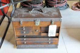 11-Drawer Flip Top Wood Machinist's Tool Box on Floor Under (1) Table