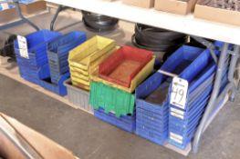 Lot-Plastic Parts Bins on Floor Under (1) Table