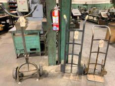 Lot-(2) 2-Wheel Hand Carts and (1) 2-Wheel Barrel Cart