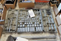 Partial Ratchet, Sockets and Wrench Set with Case