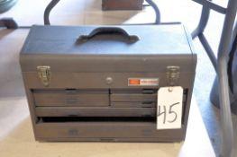 Craftsman 7-Drawer Flip Top Machinist's Tool Box on Floor Under (1) Table