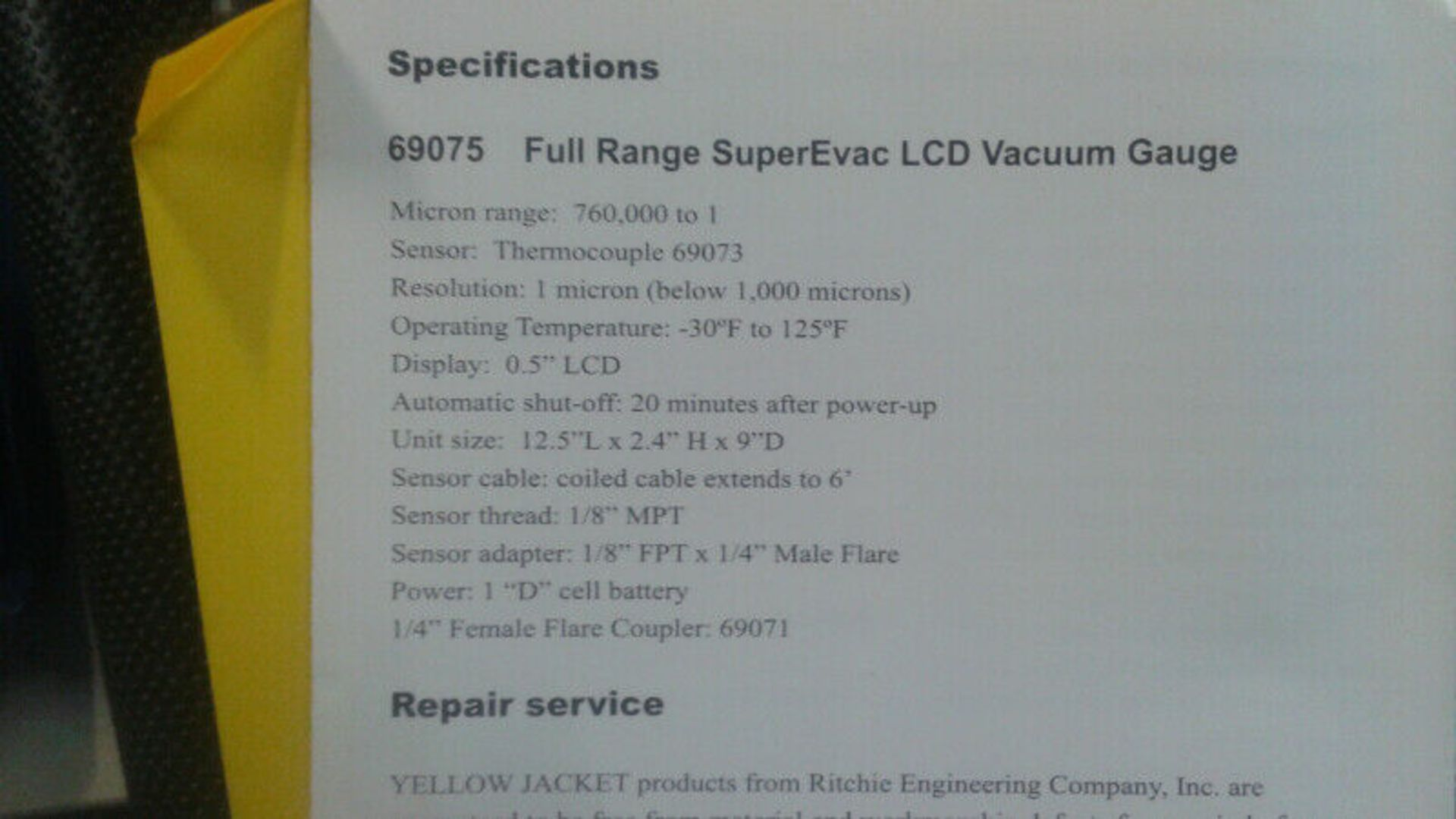 Yellow Jacket Supervac LCD Vacuum Gauge, Mdl 69075 - LOCATION - LONDON, ONTARIO - Image 2 of 2