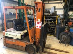 TOYOTA FORKLIFT, MODEL 2FBEC 18, S/N 2FBEC18-20479, ELECTRIC, SIDE-SHIFT, 2800 LBS CAPACITY