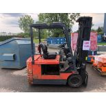 TOYOTA FORKLIFT, MODEL 5FBE 18, S/N 17039, ELECTRIC, NO BATTERY, FORKS, CHARGER, 2400 LBS CAPACITY
