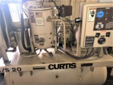 Curtis RS/20 20 HP Rotary Screw Type Air Compressor S/n 6629A98010, 20HP, 125 PSI