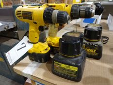 LOT: (2) Dewalt Model DW991 & DW928 VSR Cordless Drill/Drivers, with (4) Batteries & (2) Chargers