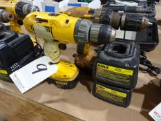 LOT: (2) Dewalt Model DW991 & DW983 Cordless Drill/Drivers, with (2) Batteries & (2) Chargers