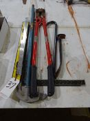 LOT: Bolt Cutters, Pipe Benders, Pry Bars, etc.