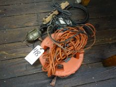 LOT: Assorted Electric Cords & Work Lights